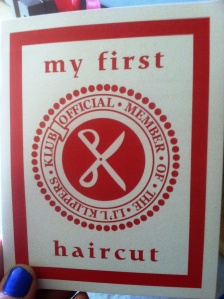 1st haircut card front